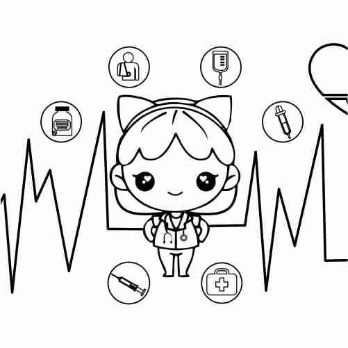 Dibujos de doctora muñeca kawaii para colorear