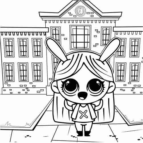 Dibujos de muñeca escuela para colorear