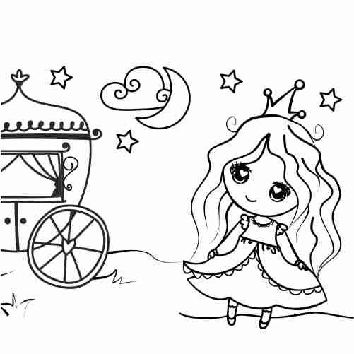 Dibujos de princesa despeinada kawaii para colorrear e imprimir