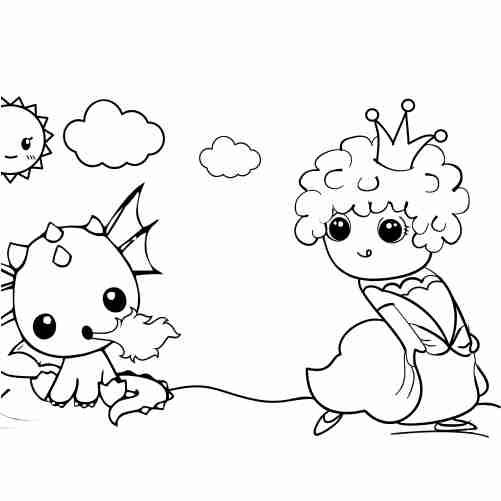 Dibujos de Princesa de rulos huyendo de dragon kawaii para colorear e imprimir