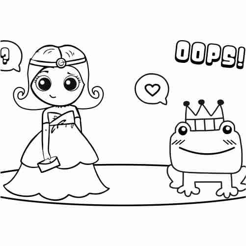 Dibujos de princesa e sapo para colorear e imprimir