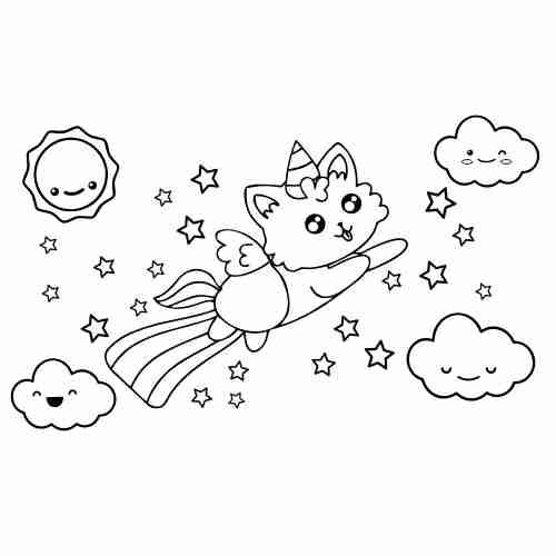Dibujos de Arcoiris y gato-unicornio kawaii para colorear