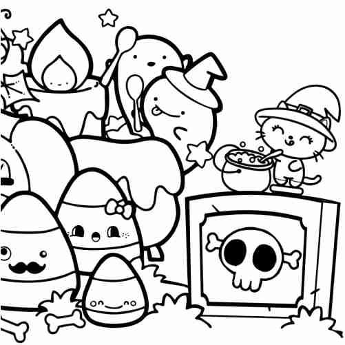 Dibujos de halloween en Asustalandia con huevos y gatos para colorear