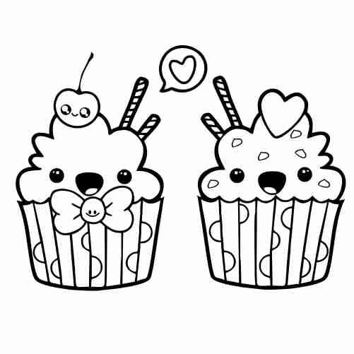 Dibujos de cupcake kawaii para colorear