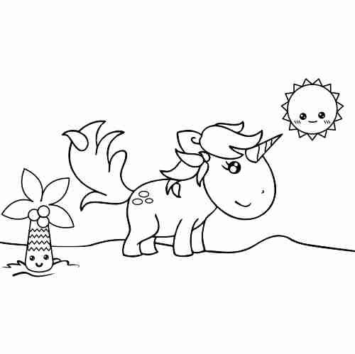 Dibujos de Dino Unicornio kawaii para colorear