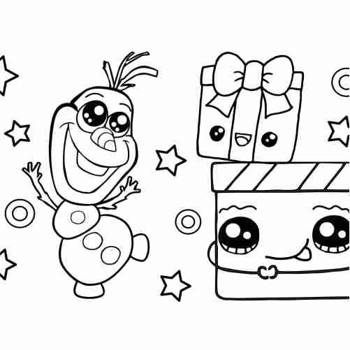 Dibujos de El regalo de navidad bebe de nieve kawaii para colorear
