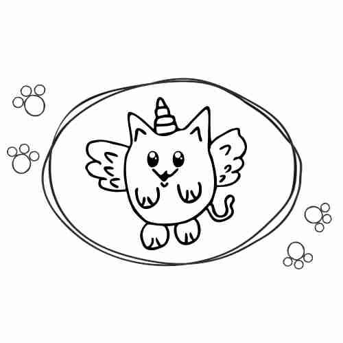 Dibujos de Gato cornio kawaii2 para colorear