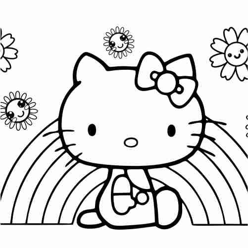 Dibujos de hello kitty con arcoiris para colorear
