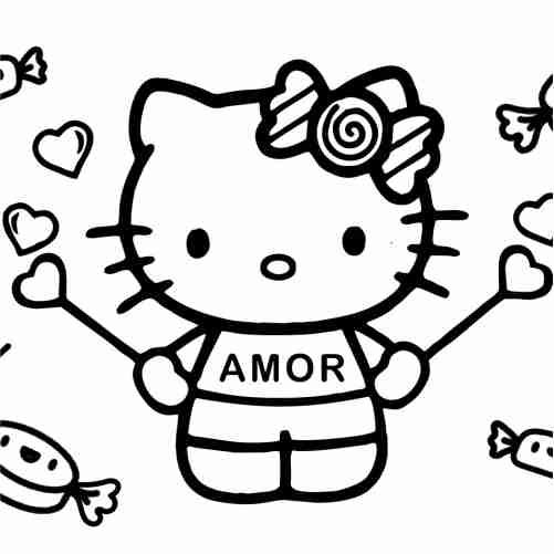 Dibujos de Hello kitty con dulces para colorear