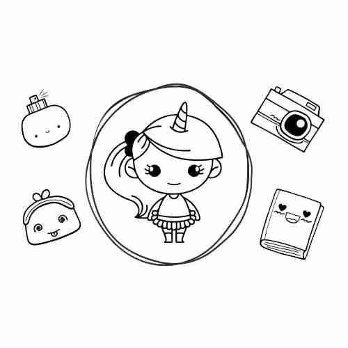 Dibujos de Niña unicornio kawaii2 para colorear