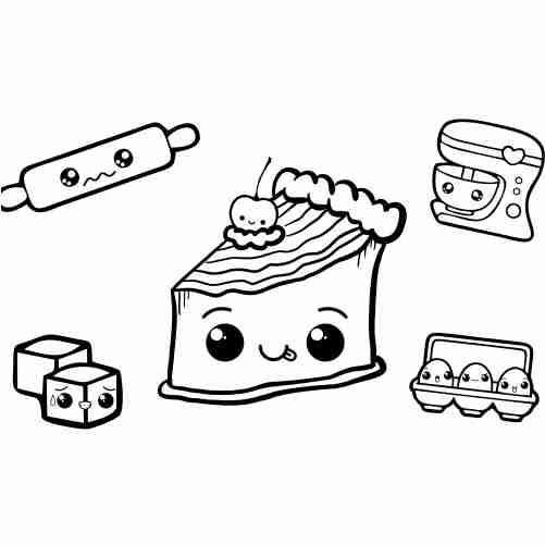 Dibujos de pastel kawaii para colorear