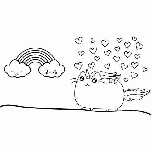 Dibujos de Pusheen amor kawaii2 para colorear