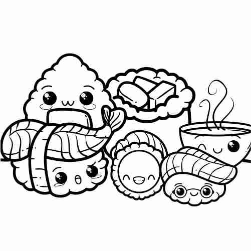 Dibujos de sushi delicioso kawaii para colorear
