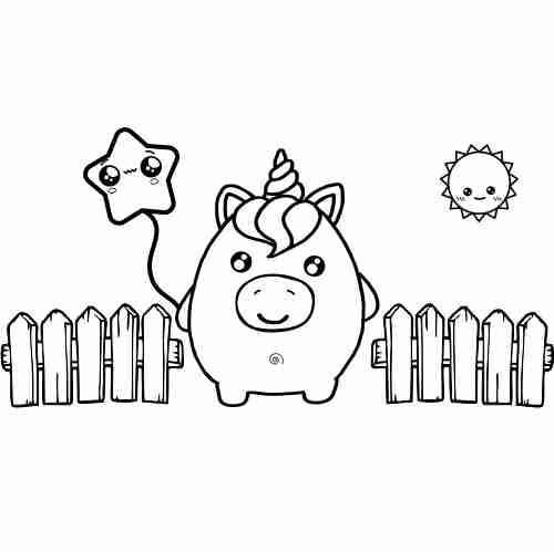 Dibujos de Squishy unicornio kawaii para colorear2