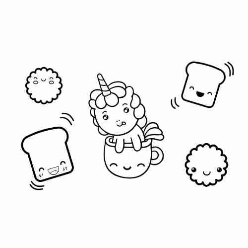 Dibujos de Unicornio bebesito y comida kawaii2 para colorear