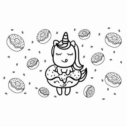 Dibujos de Unicornios bebe kawaii y donas2 para colorear