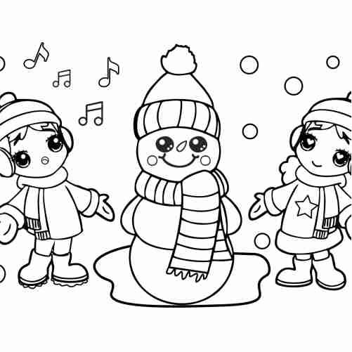 Dibujos de alegre navidad kawaii para colorear
