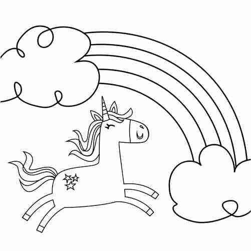 Dibujos de arcoiris unicornio saltarin para colorear