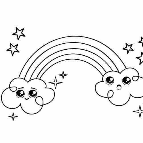 Dibujos de arcoiris con estrellas y nuves para colorear
