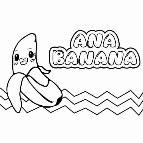 Dibujos de banana kawaii para colorear comida fruta.
