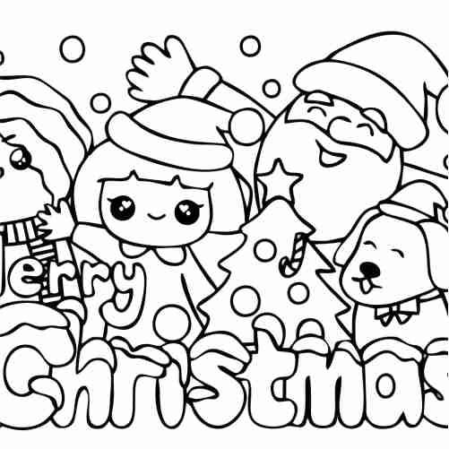 Dibujos de blanca navidad kawaii para colorear