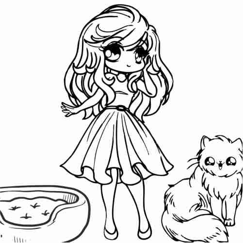 Dibujos de chica kawaii con gato para colorear