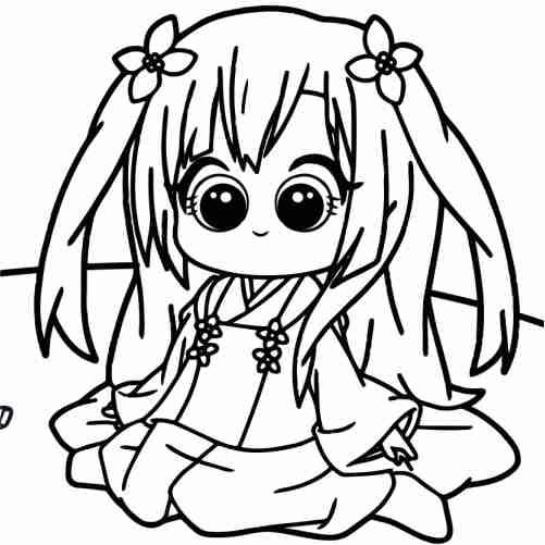 Dibujos de chica comiendo kawaii para colorear