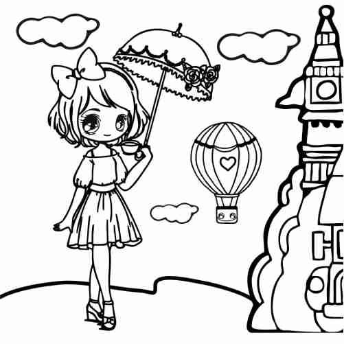 Dibujos de chica kawaii en londres para colorear