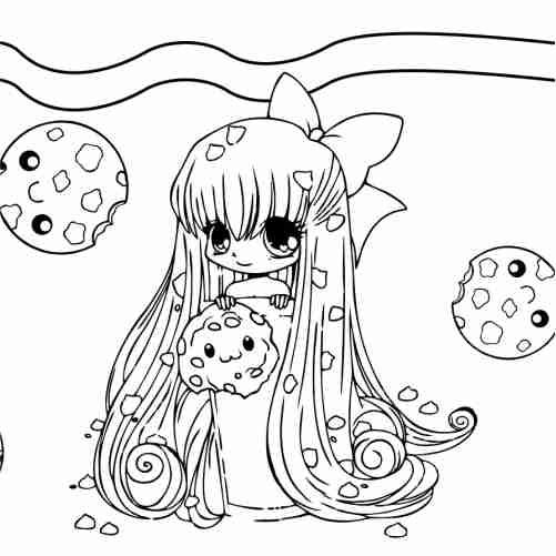 Dibujos de chica kawaii con galletas para colorear
