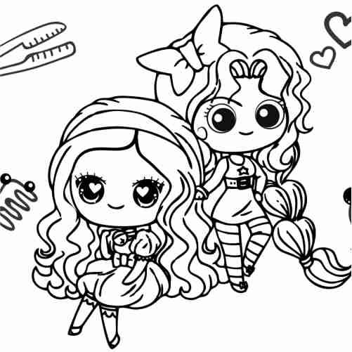 Dibujos de chicas peluqueras kawaii para colorear