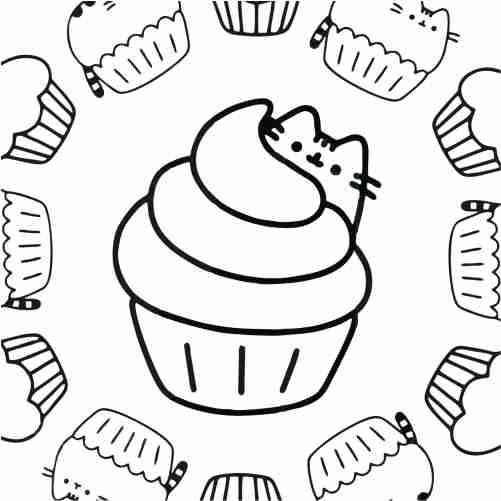 Dibujos de cupcake pusheen kawaii para colorear