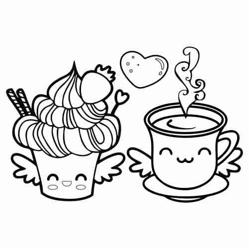 Dibujos de cupcake y cafe amor comida kawaii para colorear