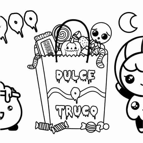 Dibujos de halloween dulce o truco y niña para colorear