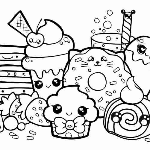 Dibujos de dulces kawaii para colorear