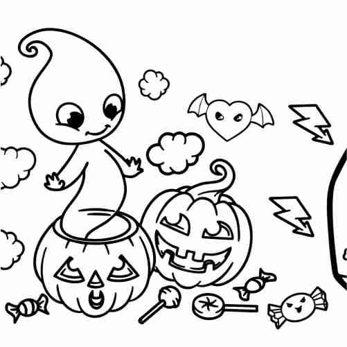 Dibujos de fantasma y calabaza dibujo para colorear de halloween