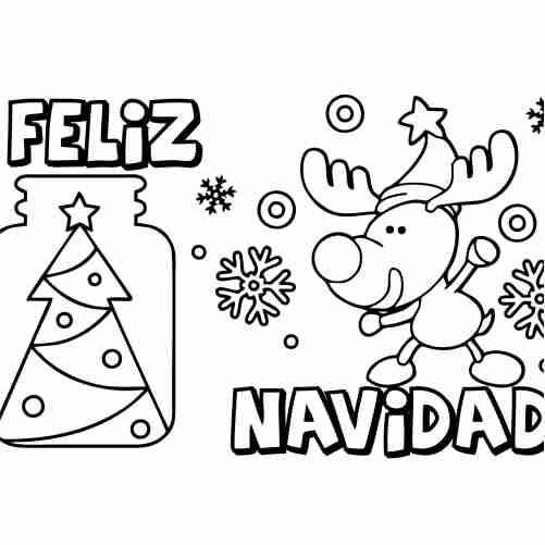 Dibujos de feliz navidad kawaii para colorear