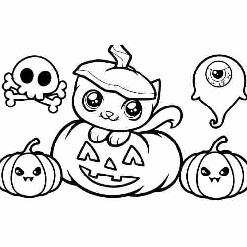 Dibujos de gato kawaii en calabaza asustadora, dibujo de halloween para colorear