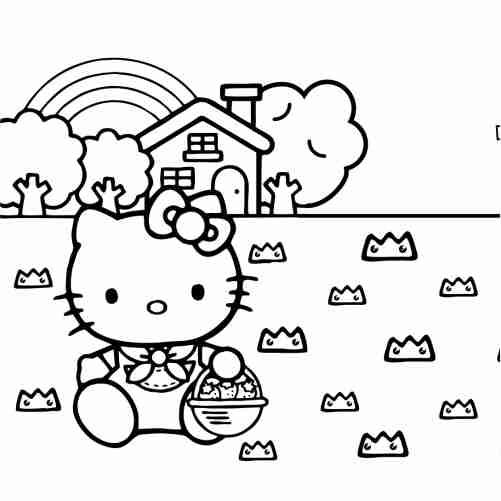 Dibujos de Hello kitty en el campo con casa y arcoiris para colorear