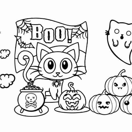 Dibujos de gatito y fantasma en halloween kawaii para colorear