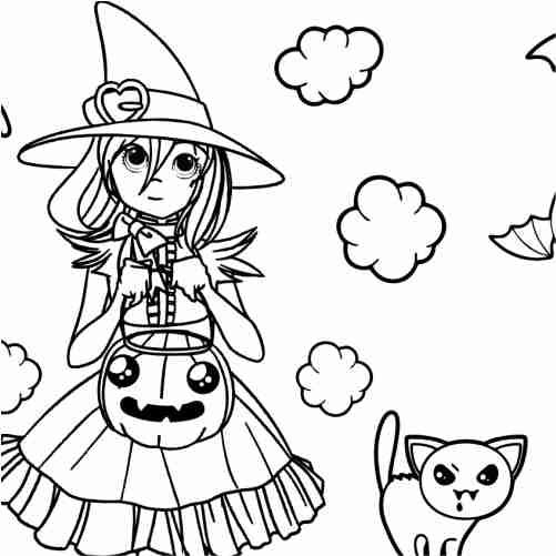 Dibujos de chica en halloween con calabaza y gatito asustador