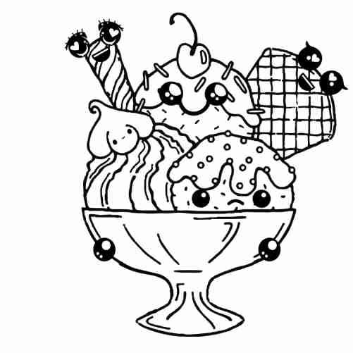 Dibujos de helado kawaii en copa para colorear