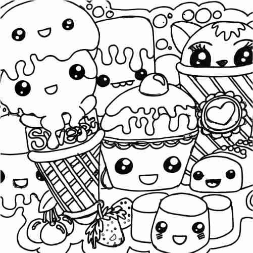 Dibujos de Muchos helados kawaii para colorear