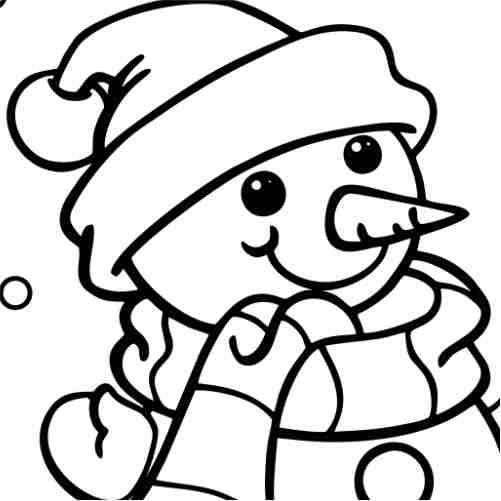 Dibujos de hombre de nieve kawaii para colorear