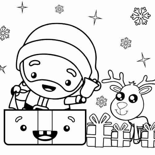 Dibujos de santa con reno kawaii en navidad para colorear