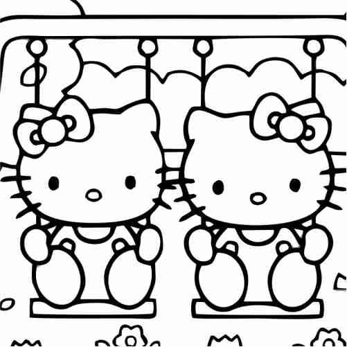 Dibujos de Hello kitty en columpio para colorear