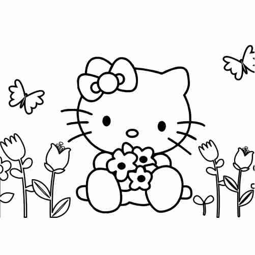 Dibujos de Hello kitty jardinera con flores y mariposas para colorear