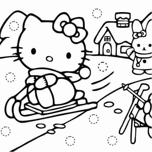 Dibujos de hello kitty kawaii navidad para colorear