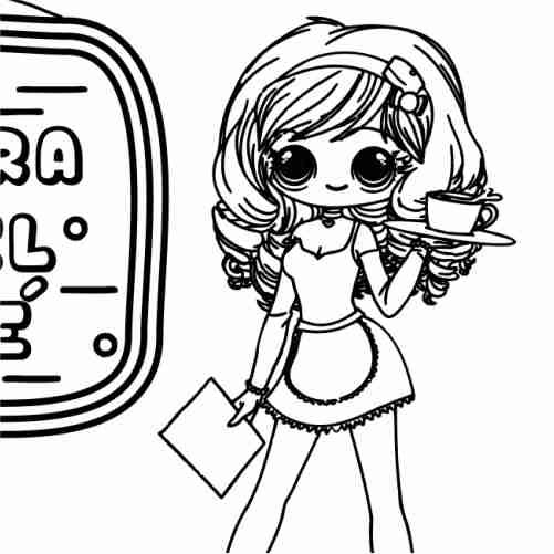 Dibujos de la chica kawaii del te para colorear