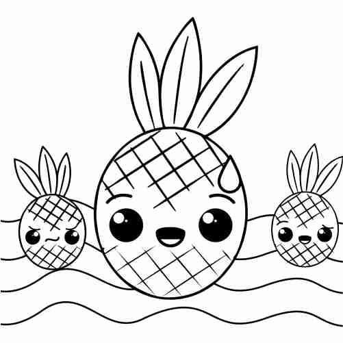 Dibujos de mamá piña kawaii para colorear
