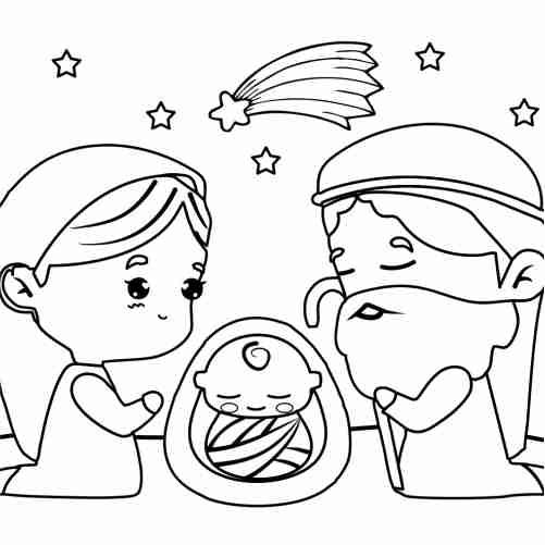 Dibujos de nacimiento kawaii niño jesus para colorear